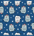 cute seamless pattern with hand drawn owl vector image