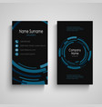 dark business card with abstract technical blue vector image vector image