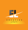 el e l letter modern logo design with yellow vector image vector image