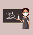 female teacher with face mask and sanitizer vector image