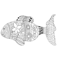 Fish Coloring book for adults vector image vector image