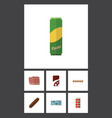 flat icon food set of spaghetti fizzy drink vector image vector image