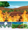 four different nature disaters scene forest in vector image