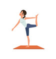 girl standing in yoga lord of the dance pose or vector image vector image