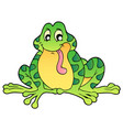green sitting frog vector image
