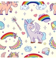 hand drawn unicorns and magic seamless vector image vector image