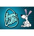 happy easter bunny with giant egg vector image vector image