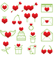 Heart Shape Polygon Love Objects Line Icons Set vector image vector image