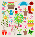 icons set elements Spring Gardening vector image