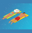 isometric woman and the man floating on a mattress vector image vector image