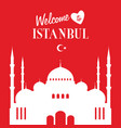 istambul turkey mosque silhouette icon in white vector image