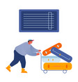 man loader pushing trolley with luggage for vector image