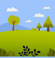 nature landscape with grass trees hill vector image vector image
