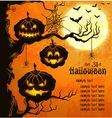 Orange grungy halloween background with pumpkins vector image