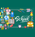 school icons on green cutting matpaper cut vector image