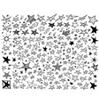 seamless pattern with hand drawn star icons vector image