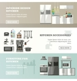 set of banners with kitchen interior vector image vector image