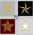 set of golden christmas stars 4 in 1 vector image