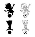 set of silhouettes and a contour of soccer players vector image