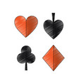 suits diamond pike spade tile clover clubs hearts vector image