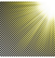 sun ray light on top rigth corner transparent glo vector image vector image