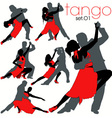 tango silhouettes set vector image