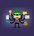 thief infographic hackker can hack every thing vector image vector image