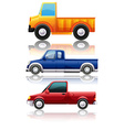 Three different kinds of trucks vector image vector image
