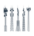 transmission cellular towers satellite vector image vector image