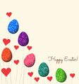 trees growing easter eggs and heart background vector image vector image