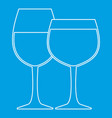 two wine glasses icon outline style vector image vector image