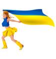 ukrainian girl sport fan holding flag soccer goal vector image vector image