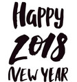 2018 happy new year black text logo for holiday vector image