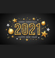 2021 merry christmas and happy new year neon light vector image vector image