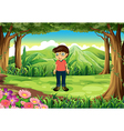 A forest with a boy wearing glasses vector image vector image