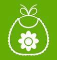baby bib icon green vector image vector image