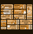 baseball sport game tickets championship match vector image vector image