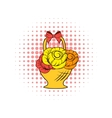 Basket flowers comics icon vector image vector image