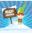 cartoon merry Christmas elf on north pole vector image