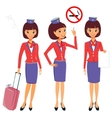 Cheerful cartoon flight attendant in uniform vector image vector image