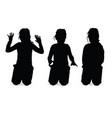Child girl kneels silhouette