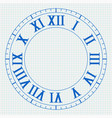 clock with roman numerals on lined paper vector image vector image