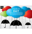 Colorful cloud with rain on black umbrellas vector image