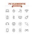 Computer elements linear icons set Thin outline vector image