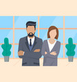 confident businessman and businesswoman in office vector image