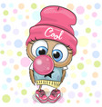 cute cartoon owl with bubble gum vector image