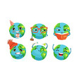 cute earth cartoon character collection funny vector image vector image