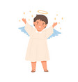 cute happy angel child with wings halo and stars vector image vector image