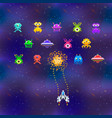 cute space invaders in pixel art style on deep