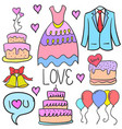 doodle of wedding style collection vector image vector image
